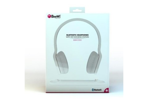 Beewi - Casque stéréo Bluetooth BLANC avec base