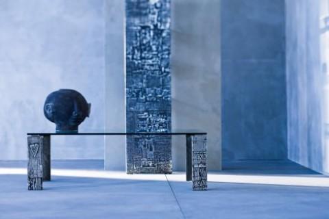 Table basse plateau verre trempé transparent