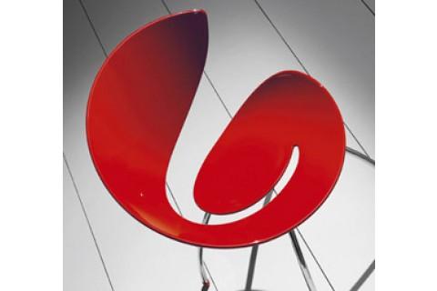 Chaise rouge 4 pieds chromés