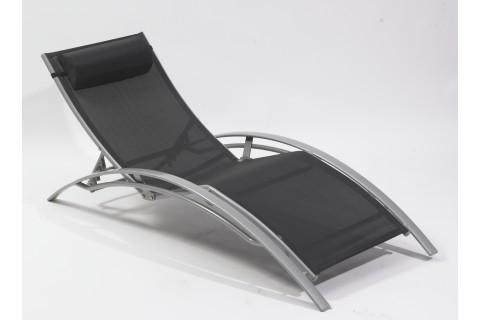 Chaise longue multi-positions aluminium, noir