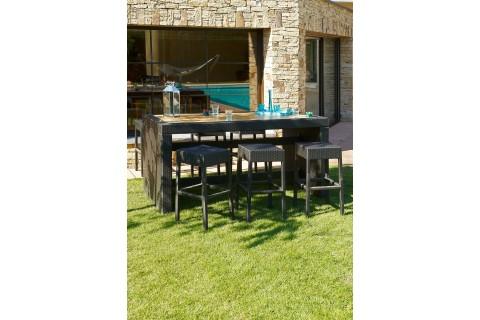 Ensemble table bar résine tréssé et bois