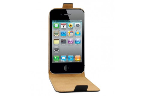 Etui Flip pour smartphone Apple iPhone 4/4S cuir noir - 1