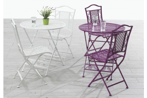 Ensemble Flora Guéridon pliant et chaises pliantes