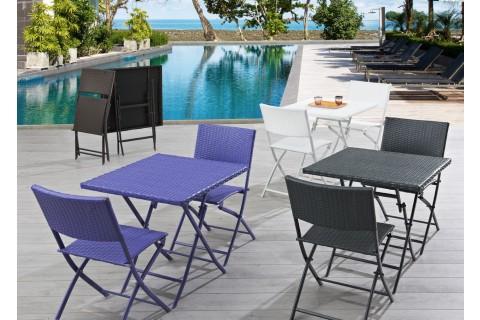 Ensemble guéridon acier pliant en résine tressée coloris violet + 2 chaises pliantes