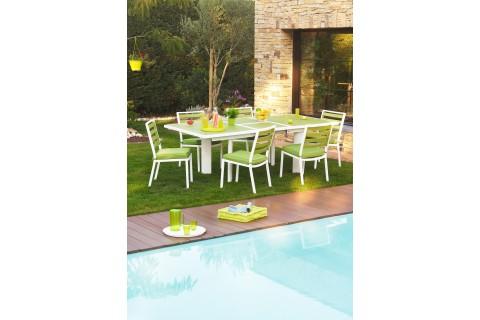 TABLE PIVERT AVEC RALLONGE PAPILLON 180/240 CM + 6 chaises - VERT