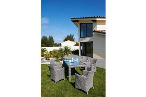 Table résine tréssée élégance avec 6 fauteuils gris