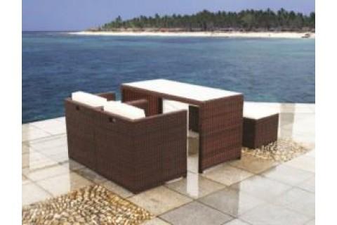 Salon en résine tressée 5 pièces - Table et fauteuils - Gris