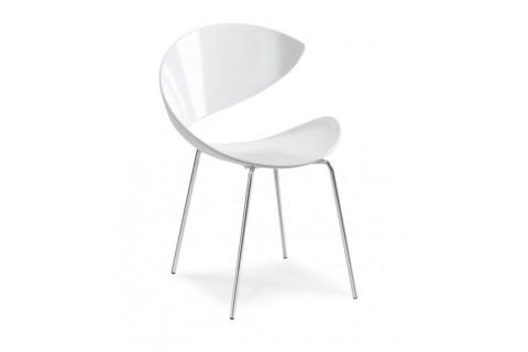 Chaise blanche 4 pieds chromés