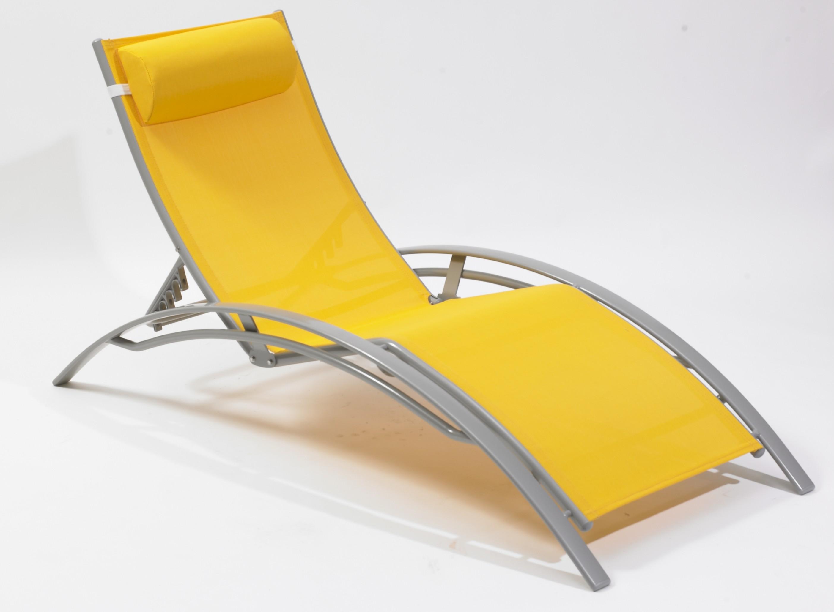 Chaise longue mulit positions, aluminium, jaune