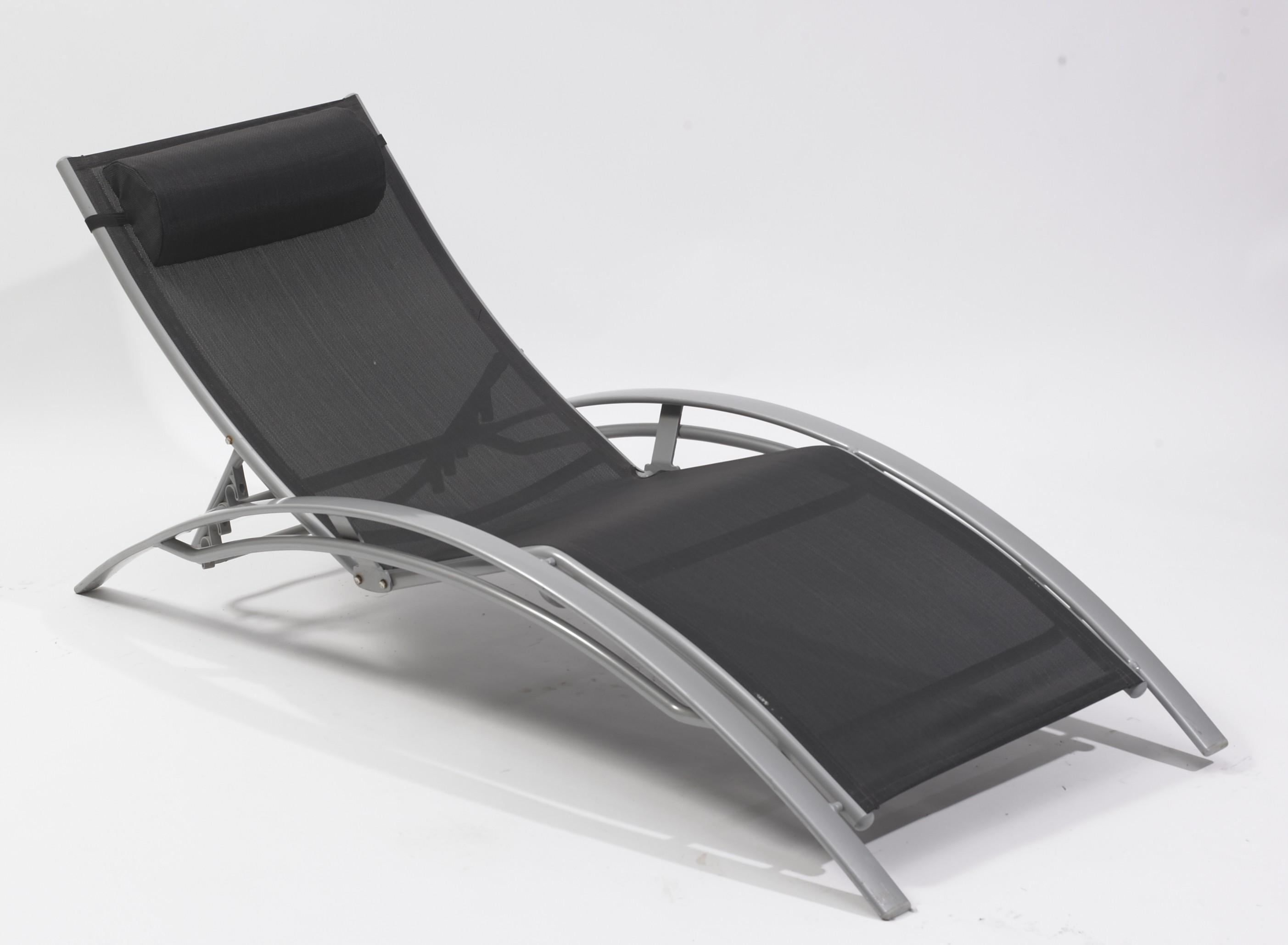chaise longue multi positions aluminium noir. Black Bedroom Furniture Sets. Home Design Ideas