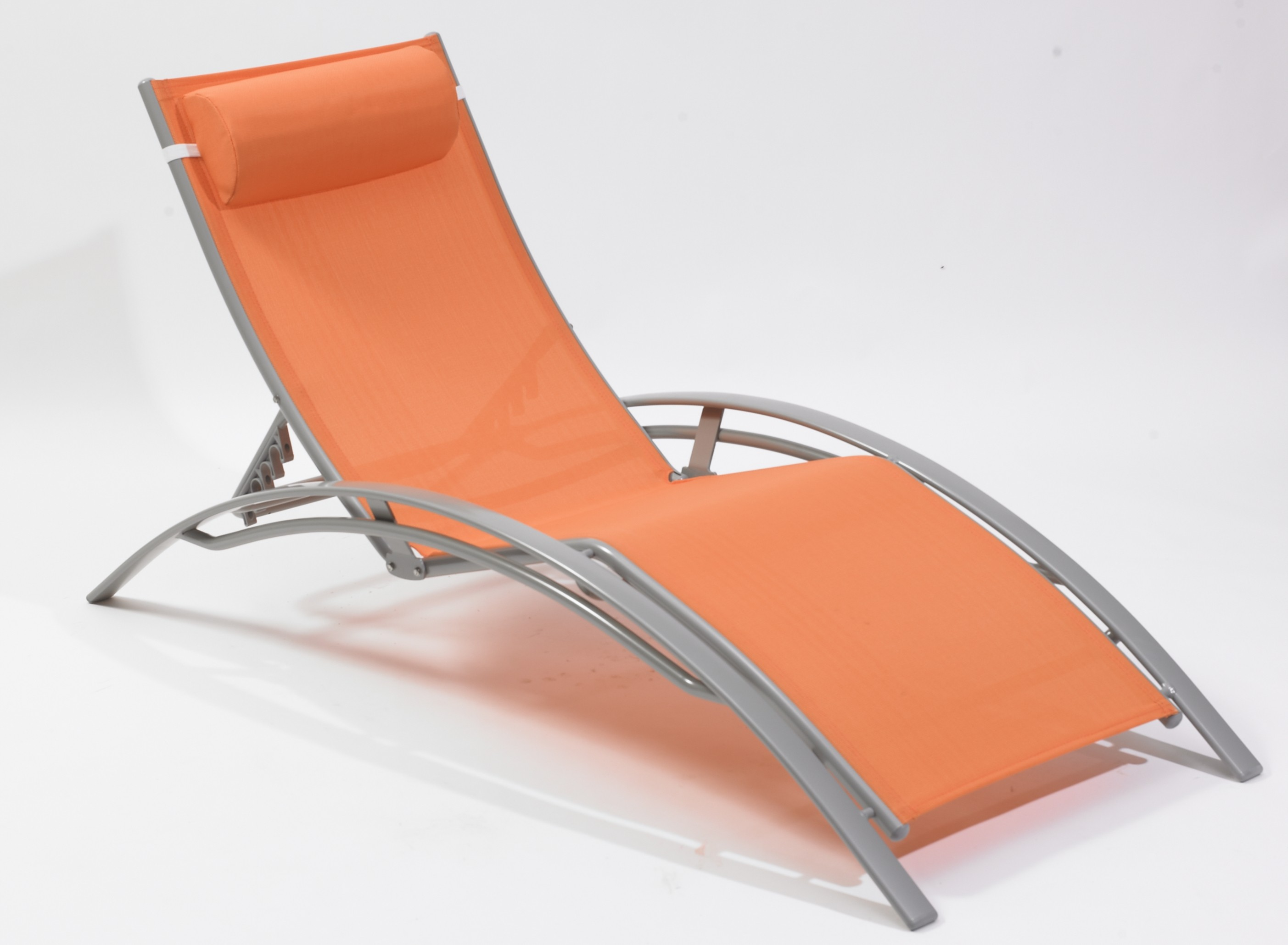 chaise longue multi positions aluminium orange. Black Bedroom Furniture Sets. Home Design Ideas