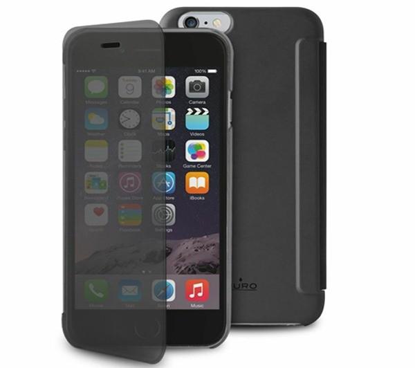 puro etui portefeuille transparent et tactile sense iphone 6 5 5 noir. Black Bedroom Furniture Sets. Home Design Ideas