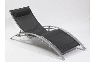 Chaise longue multi-positions aluminium, noir