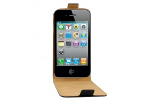 Etui Flip Noir en Cuir pour iPhone 4/4S