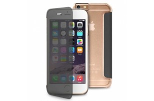 "Puro - Etui Portefeuille Transparent et Tactile Sense iPhone 6 - 5.5"" - Noir et Transparent"