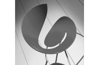 Chaise grise 4 pieds chromés