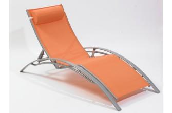 Chaise longue multi-positions aluminium, Orange