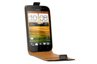 Etui cuir noir véritable pour HTC ONE SV