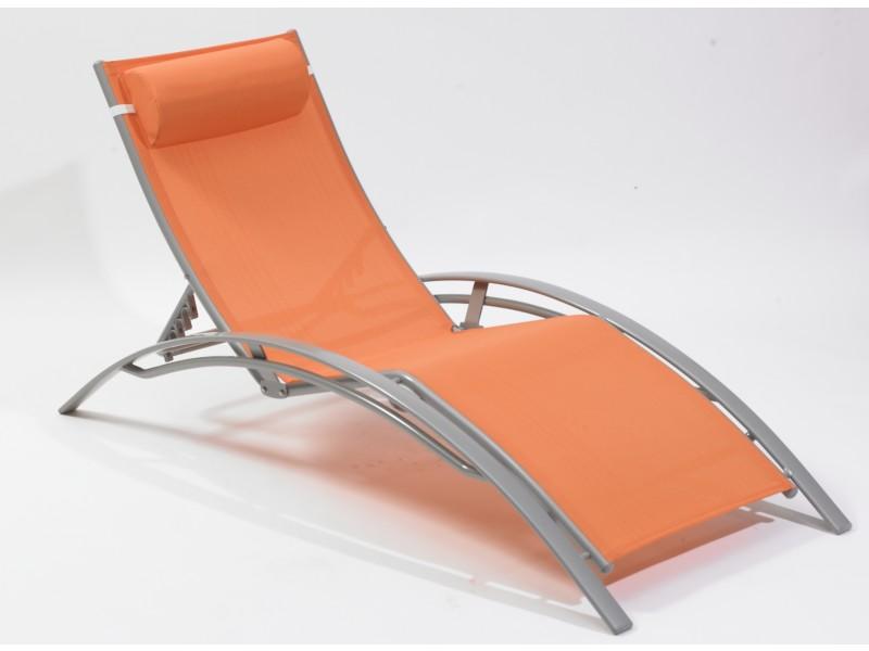 Chaise Longue Multi Positions Aluminium Orange