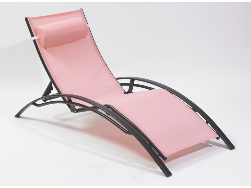 chaise longue mulit positions aluminium rose plein air. Black Bedroom Furniture Sets. Home Design Ideas
