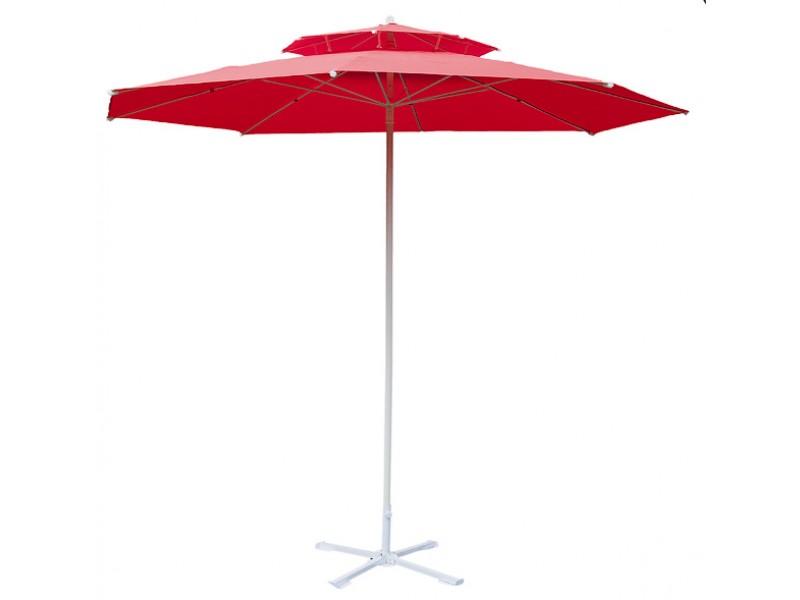 Parasol de jardin 230 cm double pente rouge - Parasol double pente ...